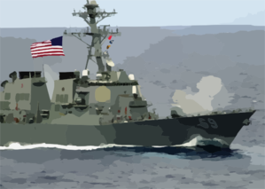 The Arleigh Burke-class Destroyer Uss Milius (ddg 69) Fires Its 54-caliber (mk 45) Lightweight Gun. Clip Art