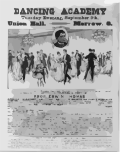 Dancing Academy Union Hall, Morrow, O., Tuesday Evening, September 9th Clip Art