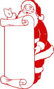 Red Santa With List Clip Art