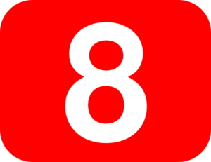 Number 8 Red Background Clip Art