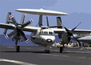 An E-2c Hawkeye Assigned To The  Sunkings  Of Carrier Airborne Early Warning Squadron One One Six (vaw-116) Successfully Lands Aboard The Aircraft Carrier Uss Constellation (cv 64) With One Engine After Having An In-flight Emergency. Clip Art