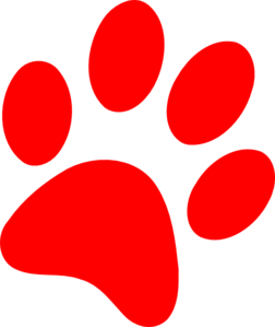 Paw print red. Puppy clip art at
