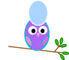 Purple Owl Blue Egg Clip Art