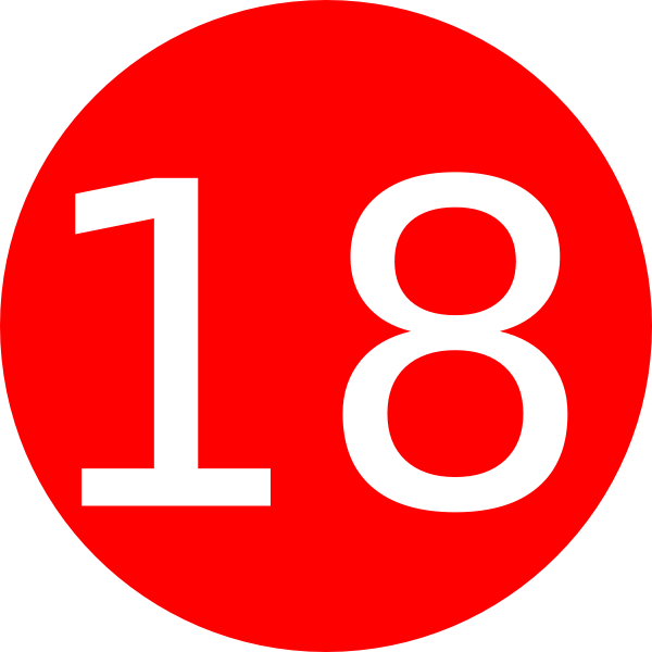 Red Number 18 Number 18 red background clip