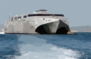 United States Army Vessel (usav) Theatre Support Vessel, Spearhead (tsv-1x), Departs From Port Clip Art