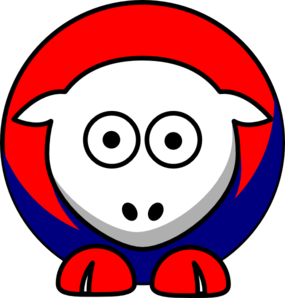 Sheep Looking Red White And Blue Clip Art