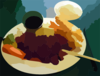 Teriyaki Chicken And Tempura Prawns In Vancouver Vector Clip Art