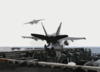 An F/a-18c Hornet From The  Hunters  Of Strike Fighter Squadron Two Zero One (vfa-201) Launches From The Flight Deck Of Uss Theodore Roosevelt (cvn 71) Clip Art