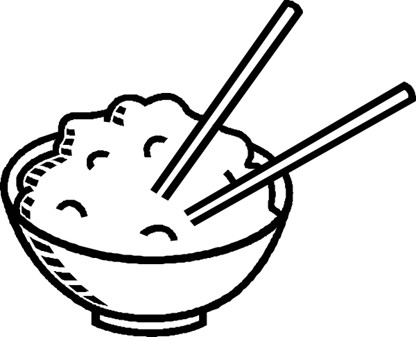 Rice Bowl Black And White Clip Art Vector Online