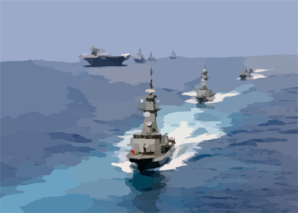 Constellation Steams Through The Ocean With Ships In Its Battle Group Clip Art