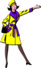 Lady In Yellow Coat Clip Art
