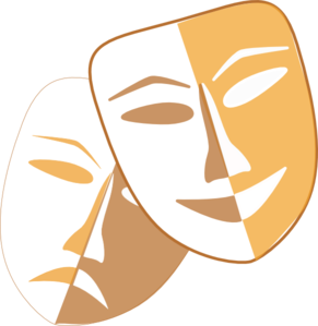 Theatre Masks Yellow Large Clip Art