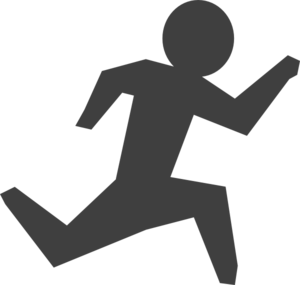 Gray Man Running Clip Art