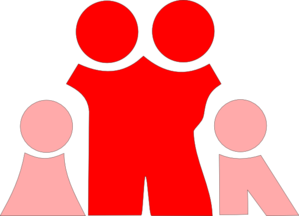 Pink Children & Red Parents Clip Art