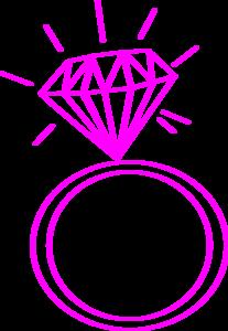 Diamond Ring  Dark Pink Clip Art