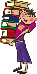 Student Carrying Books Clip Art