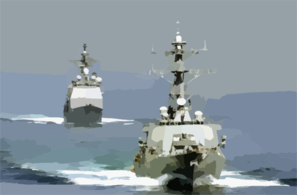 The Guided Missile Cruiser Uss Chosin (cg 65) (left) And Guided Missile Destroyer Uss Fitzgerald (ddg 62) Transit The Straits Of Hormuz While Entering The Arabian Gulf Region Clip Art