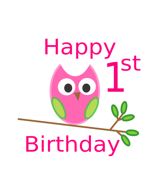Owl 1st Birthday Clip Art at Clker.com - vector clip art ...