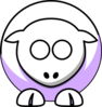 Sheep - White On Lilac No Eyes Clip Art