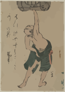 A Man Lifting A Sake Barrel. Clip Art