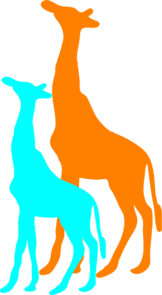 Giraffe And Baby Giraffe Clip Art