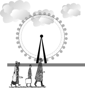 London Eye With Clouds And People  Clip Art