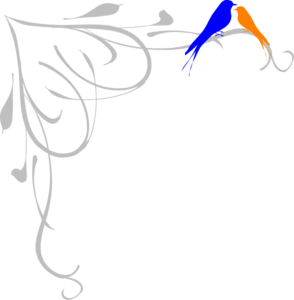 Blue And Orange Birds Clip Art