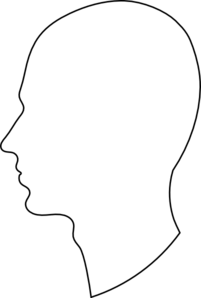 White Silhouette With Black Outline Clip Art