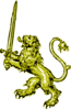 Gold Lion With Sword Banner Edit Clip Art