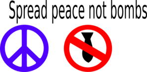 Spread Peace Not Bombs Blue Red Clip Art