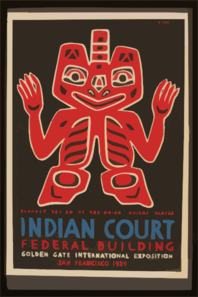 Indian Court, Federal Building, Golden Gate International Exposition, San Francisco, 1939 Blanket Design Of The Haida Indians, Alaska / Siegriest. Clip Art