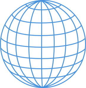 Enlarged Thick Blue Wire Globe Clip Art