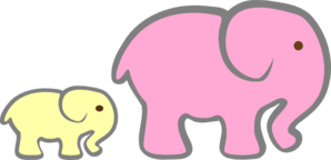 Elephants - Pink Mom Yellow Baby Follows Clip Art