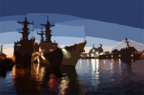 The First Sunset Of The Year Provides A Beautiful Backdrop For The Destroyers Uss Elliot (dd 967), Uss Olendorf (dd 972), Uss Fitzgerald (dd 62), And The  Amphibious Assault Ship Uss Peleliu (lha 5). Clip Art
