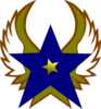 Blue Star With 1 Gold Star And Wings Clip Art