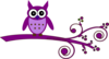 Purple Owl On Purple Branch Clip Art
