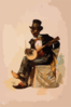 [african American In Tuxedo And Top Hat, Seated, Playing Banjo] Clip Art