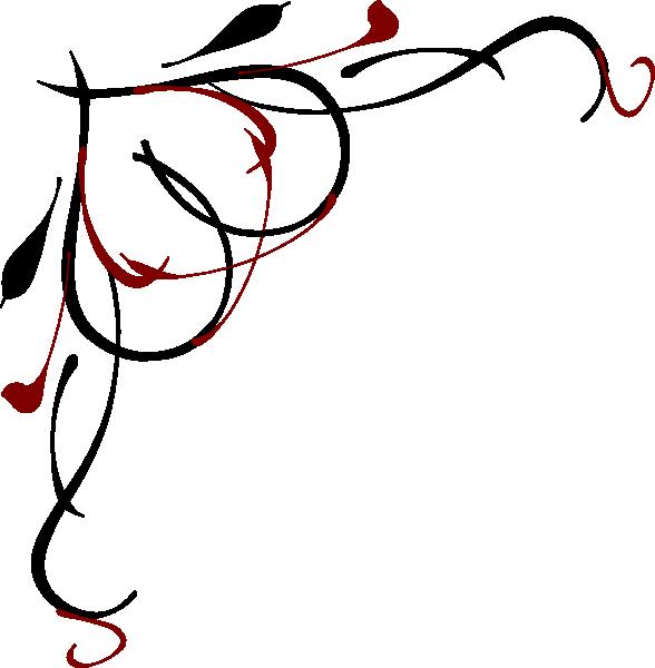 Heart Vine Corner Red And Black Clip Art At Clkercom Vector