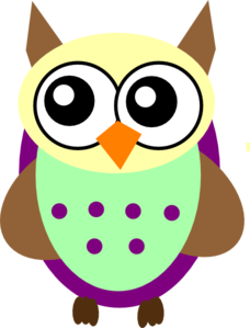 Purple Green Brown Owl Clip Art