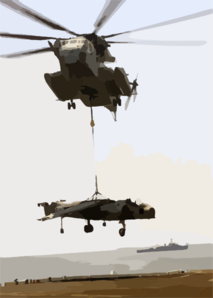 A Ch-53 Sea Stallion Drops A Retired Av-8 Harrier On The Flight Deck Aboard Uss Saipan (lha 2) Clip Art