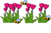 Bees On Tulips  Clip Art