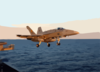 An F/a-18c Hornet Assigned To The  War Party  Of Strike Fighter Squadron Eight Seven (vfa-87) Launches Off The Flight Deck Aboard Uss Theodore Roosevelt (cvn 71). Clip Art