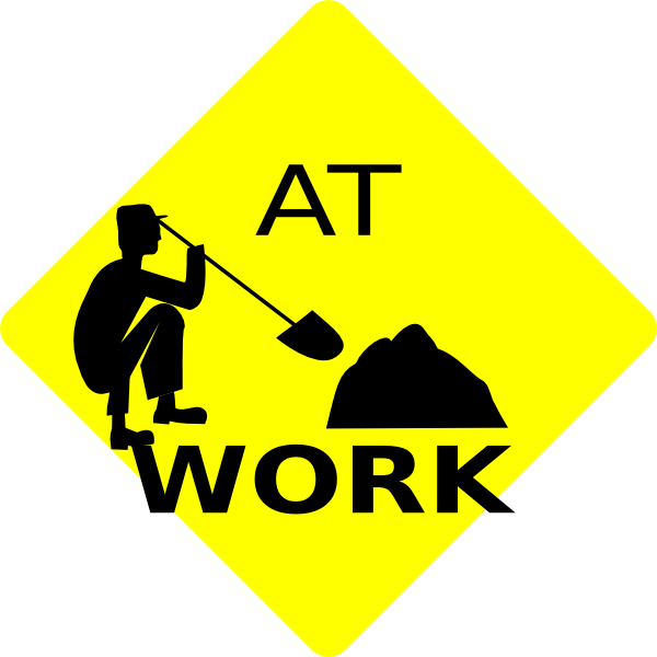 Men At Work Black & Yellow Sign Clip Art at Clker.com ...