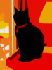 Black Cat On Tower In Living Room Crop Vector Colour Contrast Enhance Revector Clip Art