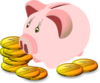 Piggy Bank With Coins Clip Art