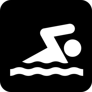 Black Sign Man Swim Clip Art