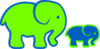 Blue And Green Elephants Clip Art
