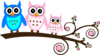 Parents Pink Owl On Branch  Clip Art