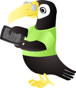 Toucan with ereader courtesy of Clker.com