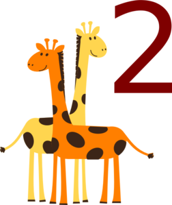 Two Giraffes With #2 Clip Art